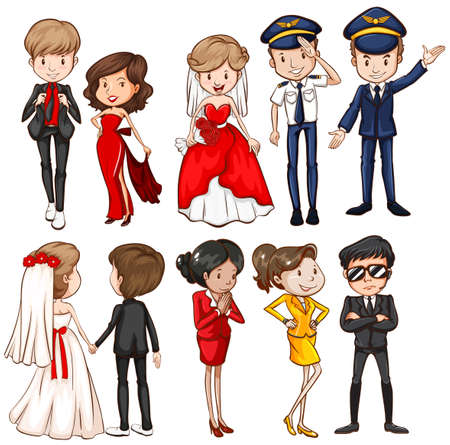 guardaespaldas: Personas en diferentes vestidos ilustración Vectores