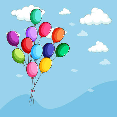 floating: Colorful balloons floating in the sky illustration