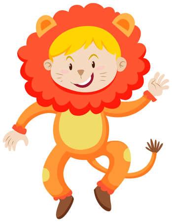 niños actuando: Niño en la ilustración del león traje