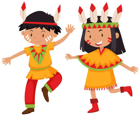indian teenager: Boy and girl in Native American indians illustration Illustration