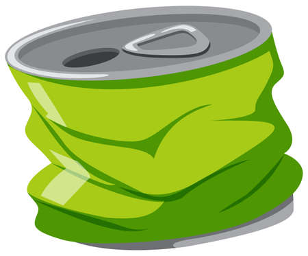 aluminum background: Used aluminum can on white background illustration