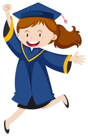 Girl in blue graduation  illustration Illustration