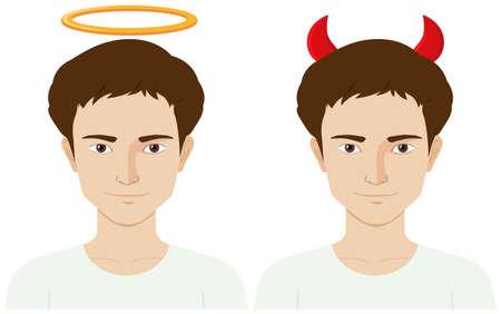 man head: Men with evil horns and angel ring illustration Illustration