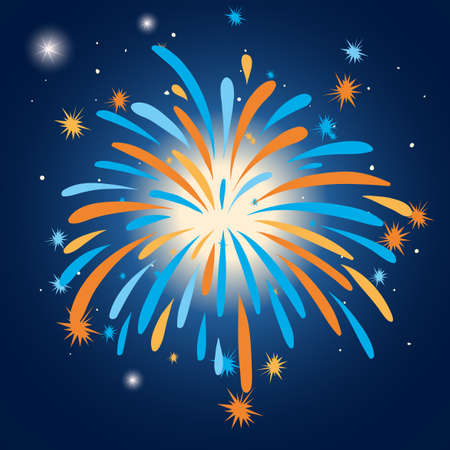 Colorful firework in the sky illustration Illustration