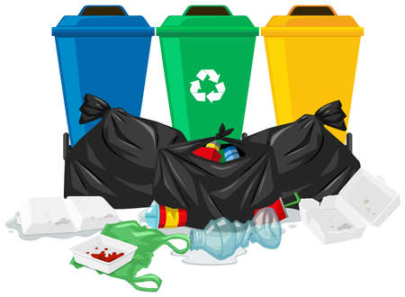 Three trash cans and trash bags illustration