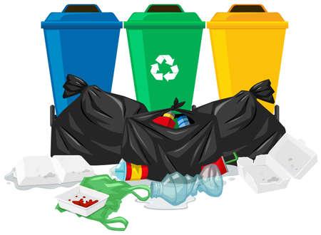 botes de basura: Tres botes de basura y bolsas de basura de la ilustración Vectores