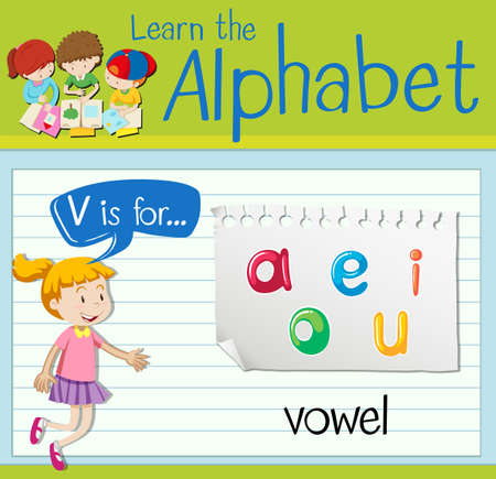 i kids: Flashcard letter V is for vowel illustration