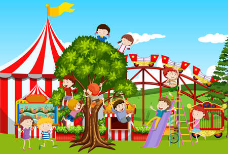Many kids playing in the fun park illustration Illustration