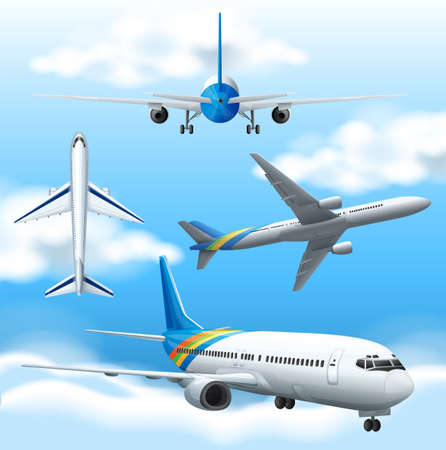 Many airplanes flying in the sky illustration