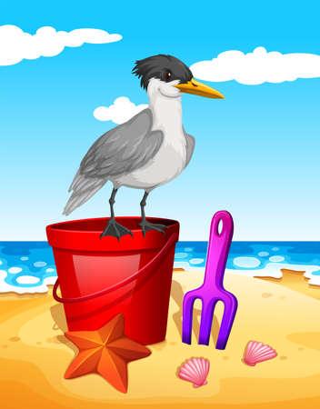 Seagull standing on red bucket illustration Illustration