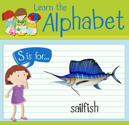 sailfish: Grupos de tarjetas letra S está para el ejemplo del pez vela