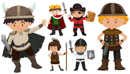 multiple: Boys in different costumes illustration