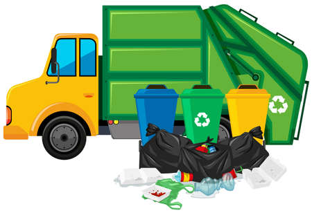 Garbage truck and three trashcans illustration