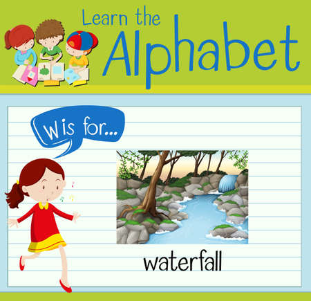 waterfall in forest: Flashcard letter W is for waterfall illustration