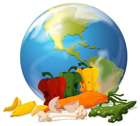 the greenhouse effect: Global warming theme with earth and rotten food illustration Illustration