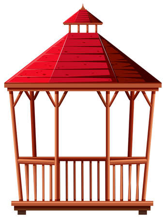 red roof: Wooden pavilion with red roof illustration