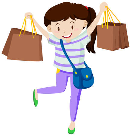 Woman with paper shopping bags illustration