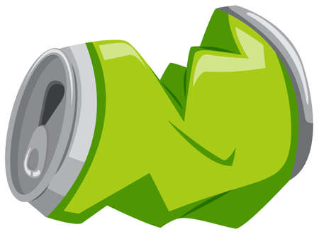 Used aluminum can in green color illustration Illustration