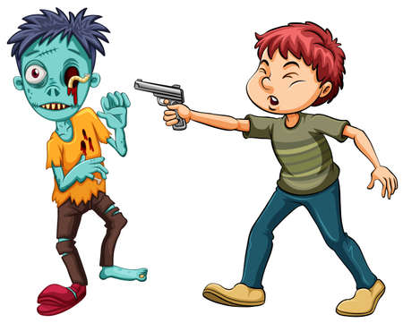 Man shooting zombie with shortgun illustration