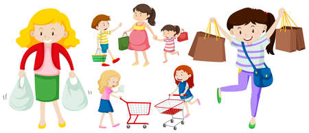People with shopping bags and cart illustration Illustration