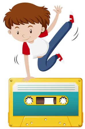 casette: Boy doing hiphop on tape casette illustration