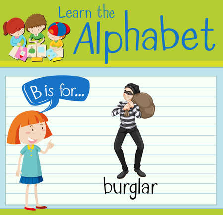 criminal activity: Flashcard letter B is for burglar illustration Illustration