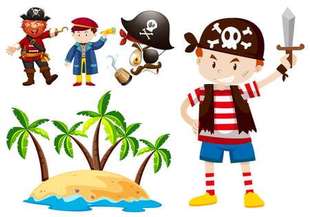 pirate crew: Pirate and crew with island scene illustration