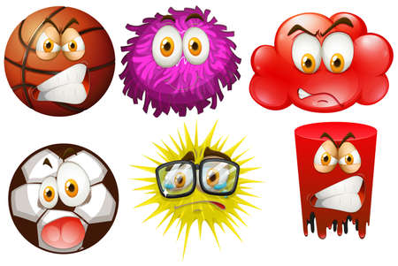 the spikes: Different types of objects with facial expressions illustration