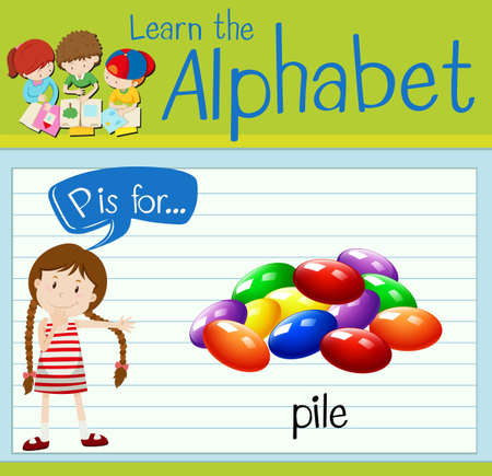 p illustration: Flashcard letter P is for pile illustration
