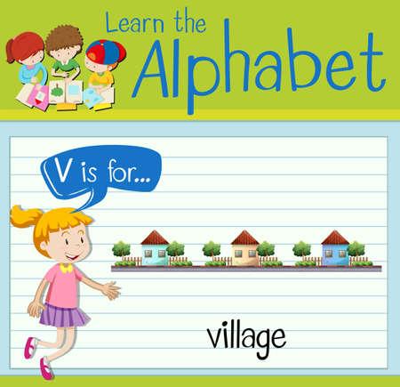 english village: Flashcard letter V is for village illustration Illustration