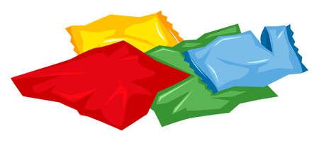 basurero: La pila de bolsas de plástico en el suelo Ilustración