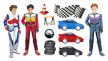 racer flag: Racing cars and three racers illustration Illustration