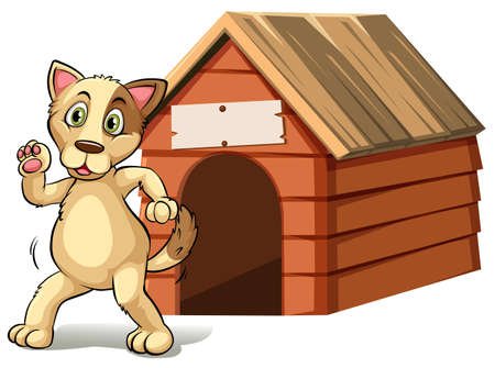 Happy dog in front of doghouse illustration