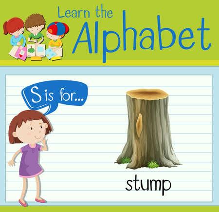 kid s illustration: Flashcard letter S is for stump illustration