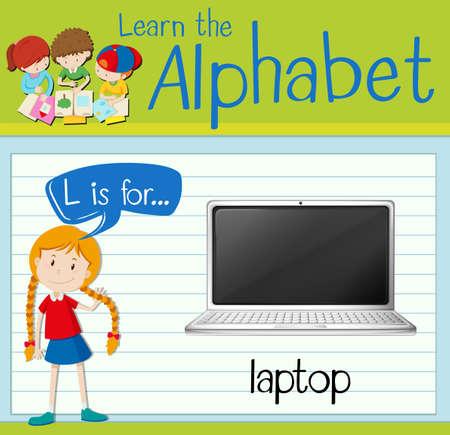 keyboard: Flashcard letter L is for laptop illustration Illustration