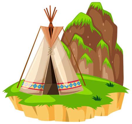 Teepee on the island illustration