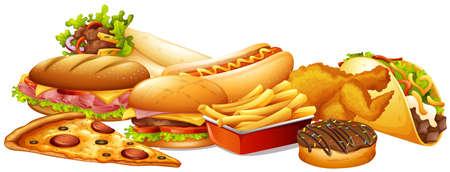 fat food: Different types of fastfood illustration Illustration