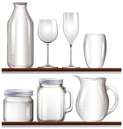 Glasses and bottles on wooden shelves illustration