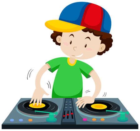 DJ playing music from discs jockey machine illustration