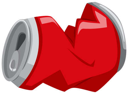 Red can in bad shape illustration