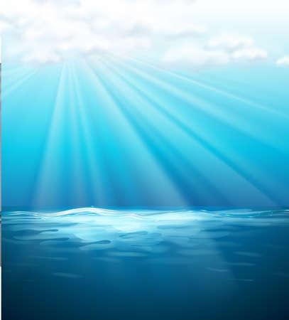 cielo de nubes: Background template with blue sea illustration Vectores