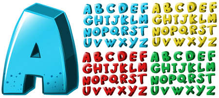 English alphabet font design in four colors illustration