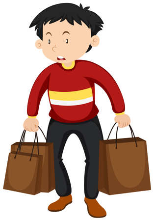 paper bags: Man with paper bags illustration