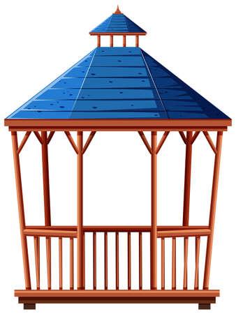 blue roof: Pavilion with blue roof illustration