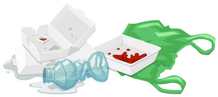 거품 상자 및 바닥에 플라스틱 병 그림