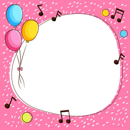 Pink border template with balloons and music notes illustration