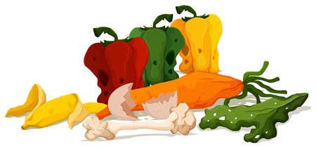 Different types of rotten vegetables illustration
