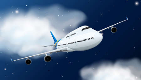 Airplane flying in the sky at night illustration