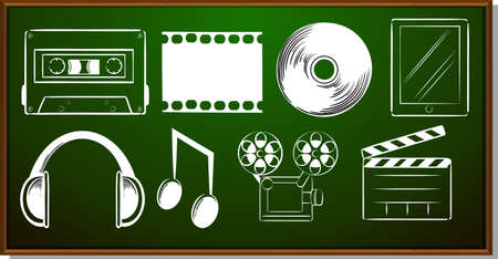 entertainment: Icon design with entertainment objects illustration