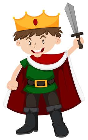 royal: Boy in prince costume holding sword illustration